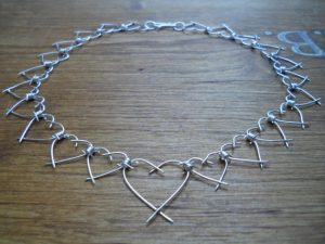 Heart necklace barbed wire