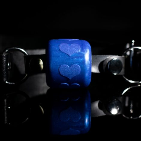 Ball Gag Heart Blue Pearlescent Godemiche