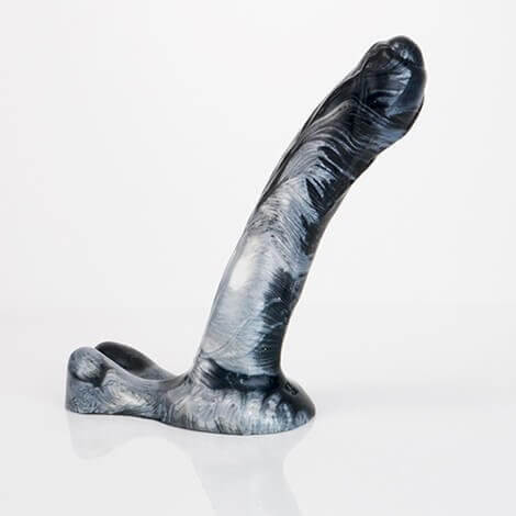 Godemiche Silicone Dildo Hercules Black and Pearl Medium