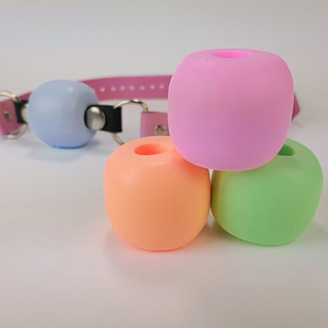 Godemiche Silicone Pastel Ball Gags Blue Lagoon, Princess Perfume, Paris Green, Peach Puff