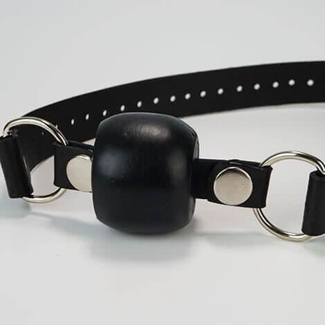 Godemiche Silicone Black Ball Gag Black Strap