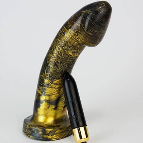 Godemiche Silicone Dildo Black Pearl & Gold Ambit Black RO80 Vibrating