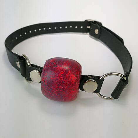 Fire Red Ball Gag Black Strap