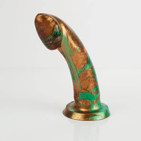 Godemiche Silicone Dildo Ambit Green Pearlescent and Bronze