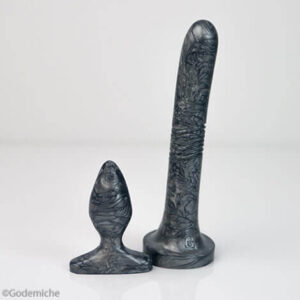 Godemiche Silicone Dildo Anal Duo Pack Bolt Gun Grey Anal Duo Pearlescent