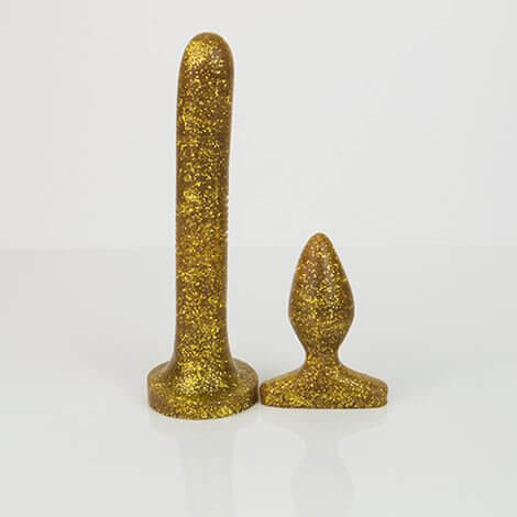 Godemiche Silicone Dildo Anal Duo Pack Gold Effulgence