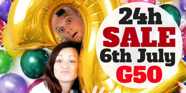 Adam and Monika with a gold number 2 balloon and the words 24h sale 6th July G50