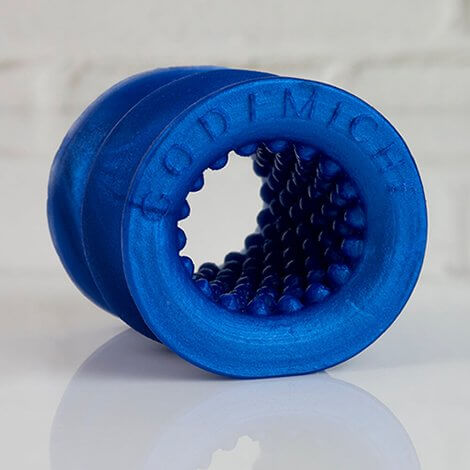 Godemiche Silicone OffBeat Short Texture Blue Pearlescent