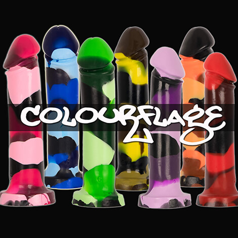 Godemiche Silicone DIldo Colourflage Adam 8 inch Virtical Black Background IG
