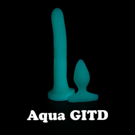 Godemiche silicone anal dildo Aqua Glow in the Dark Night Anal Duo Set with text