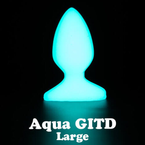 Godemiche silicone anal butt plugs Aqua Glow in the Dark Plug B Large with text