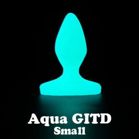 Godemiche silicone anal butt plugs Aqua Glow in the Dark Plug B Small with text