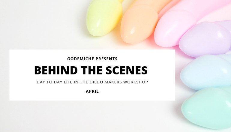 Godemiche April Behind the scenes image with a selection of pastel Ambit dildos
