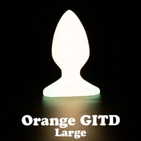 Godemiche silicone anal butt plugs Orange Glow in the Dark Plug B Large with text