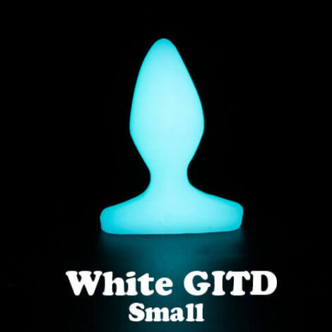 Godemiche silicone anal butt plugs White Glow in the Dark Plug B Small with text