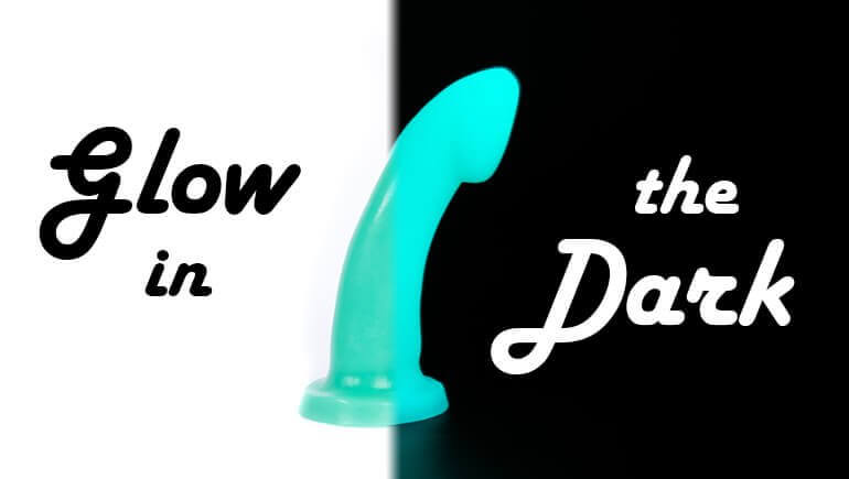 Godemiche silicone sex toys Glow in the Dark Colour colection Blog Banner