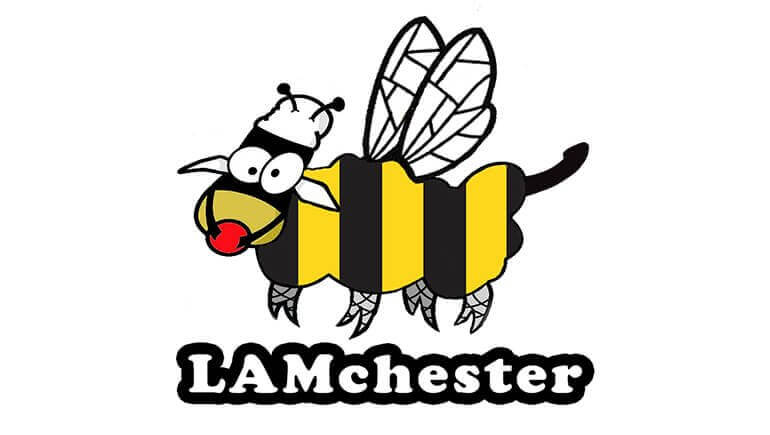 LAMchester fetish market logo of a cartoon drawing of a bee with a cows head