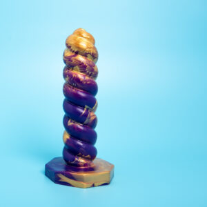 Medium Skrue Gold and Purple UV silicone dildo