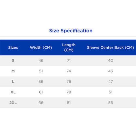 T-shirt Sizes Chart