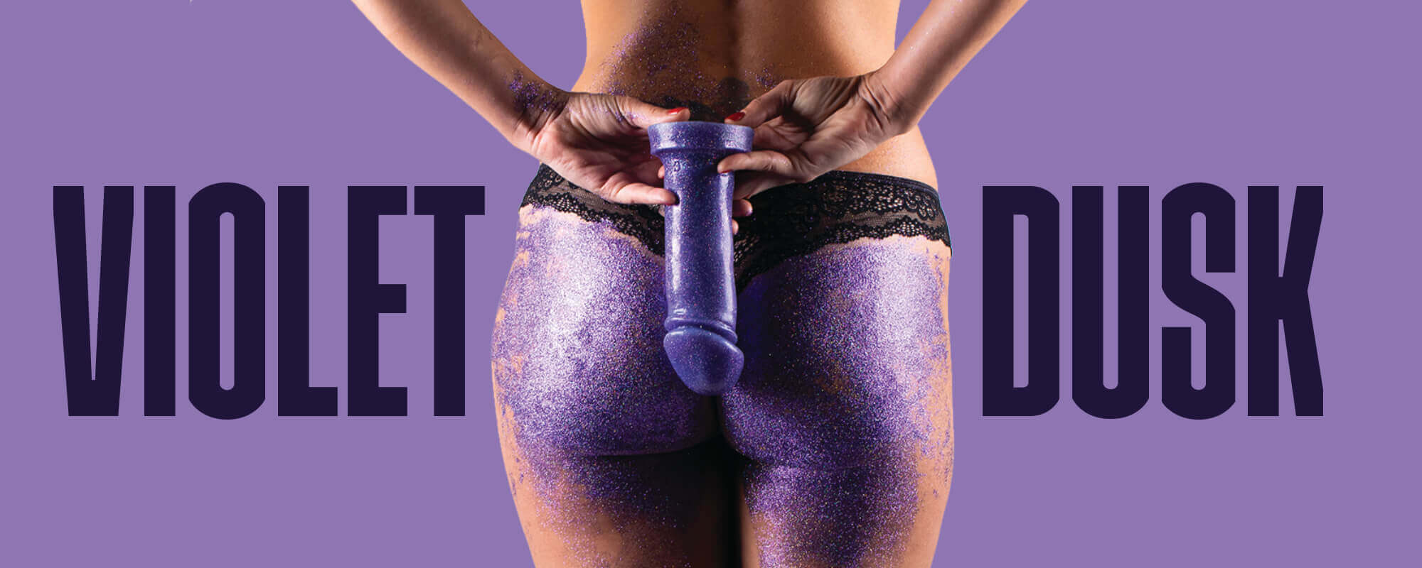Violet Dust glitter Adam 6 inch silicone dildo with purple background