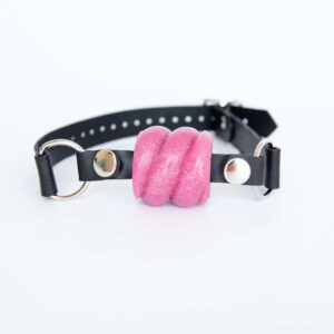 Drool Gag Textured Ball Gag Dusty Pink Effulgence With Black Strap