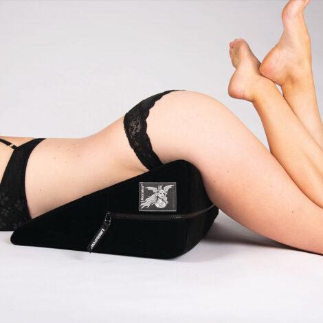 Liberator Wedge Black Monika Laying facedown legs up 1000x1000