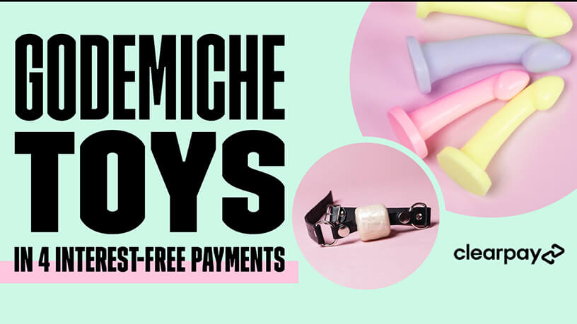 Godemiche toys in four intrest free repayments with clearpay blog post banner