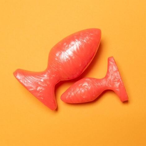 Godemiche Silicone Peachhes Collection Plug B Large and Plug B Small You Got Peachhes I Got Cream